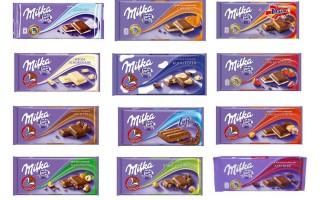 Все вкусы швейцарского шоколада Милка