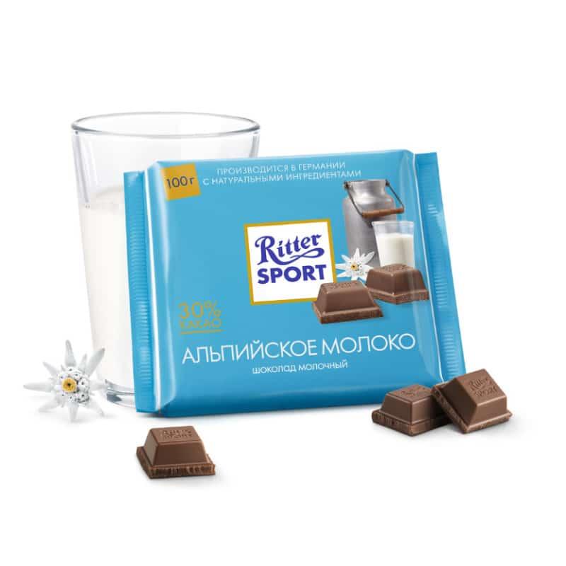 Риттер спорт альпийское молоко