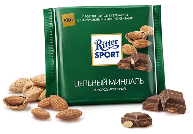 Шоколад Риттер Спорт миндаль
