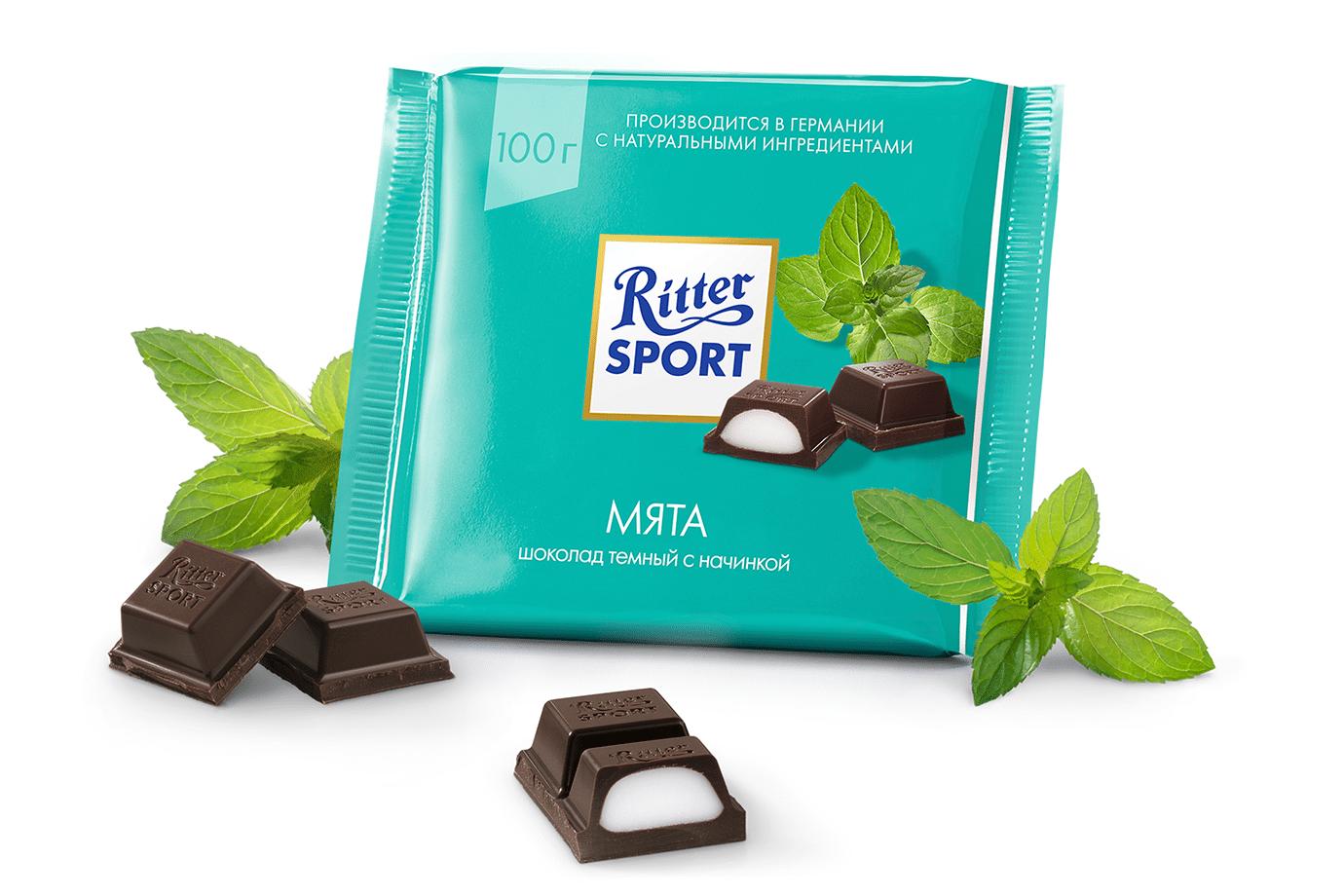 Шоколад с мятой Риттер Спорт