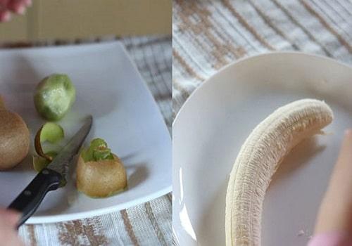 Очистить киви и бананы